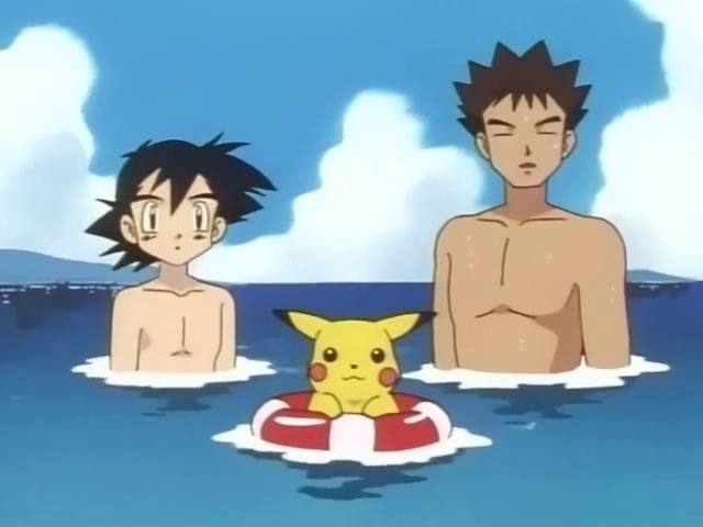 Ash and Brock checking Misty out