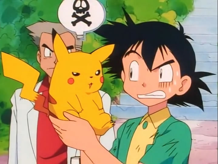 Ash recieving his starter Pokemon in Season 1 Episode 1