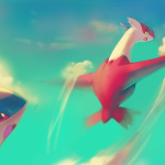Latias Latios Playing in the Clouds
