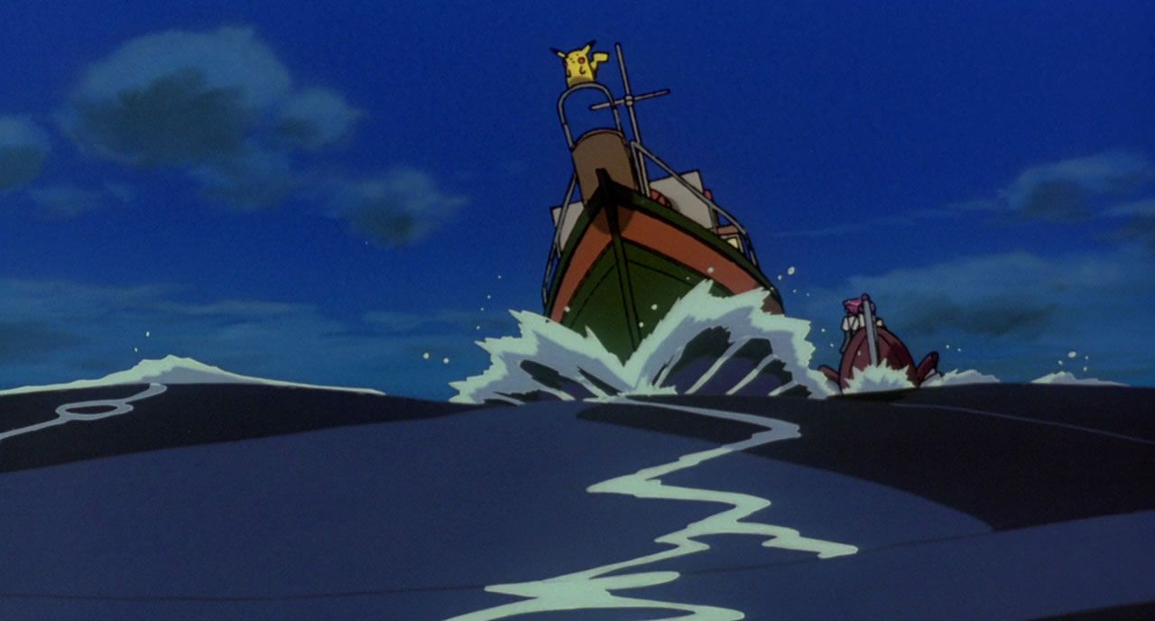 10 Marens boat knocking Team Rocket into the water