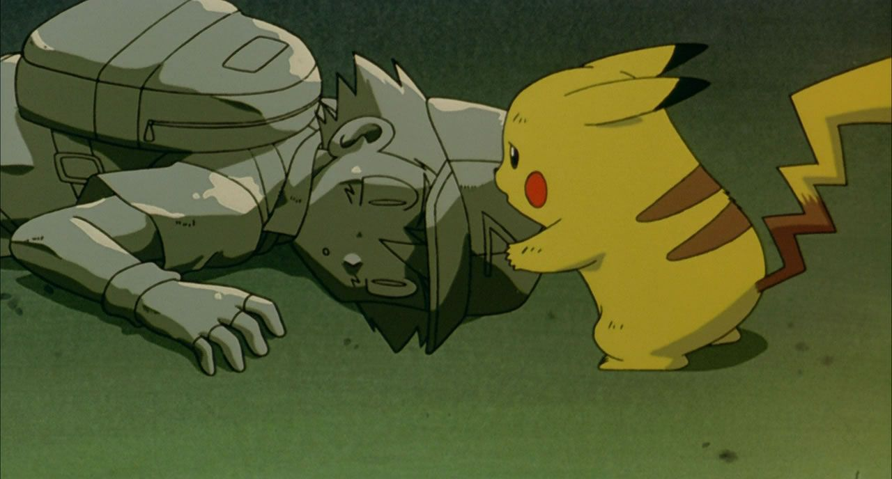 77 Pikachu tries to revive his master and friend
