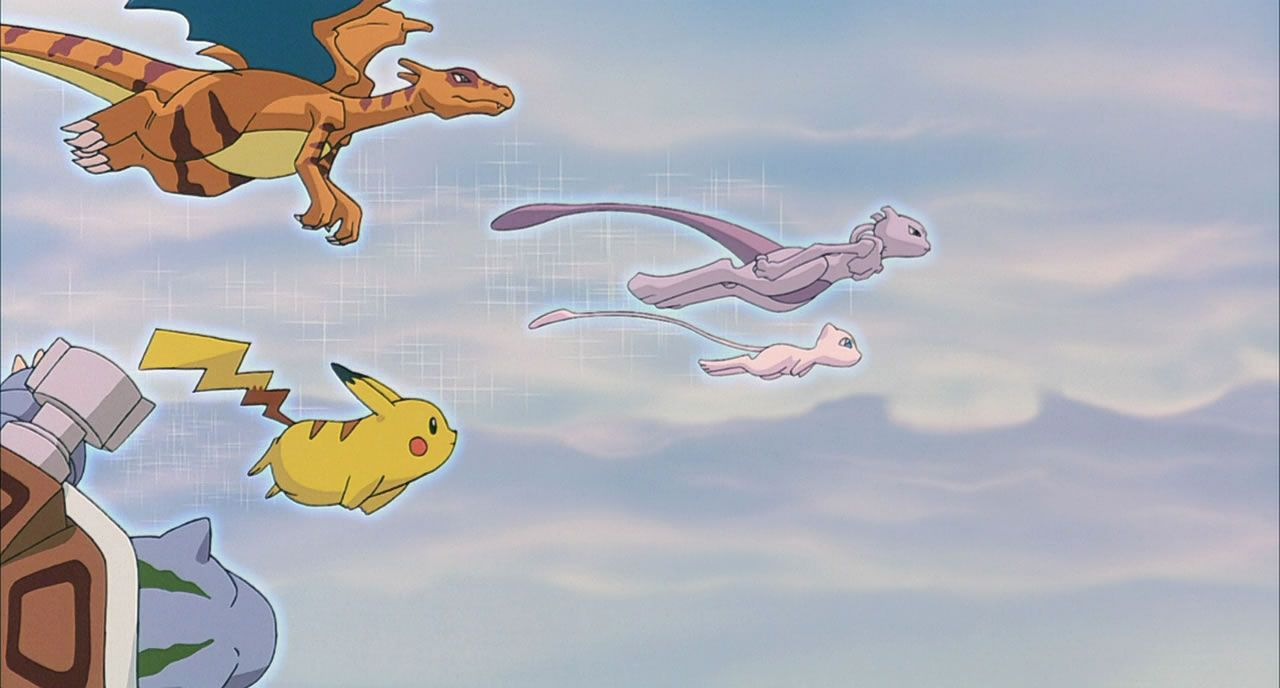84 Mew and Mewtwo lead the clones through the sky