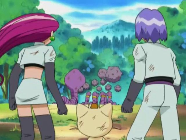 Arbok and Weezing Escaping with Their Charges