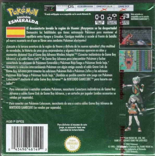 es pokemon emerald version game boy advance back cover