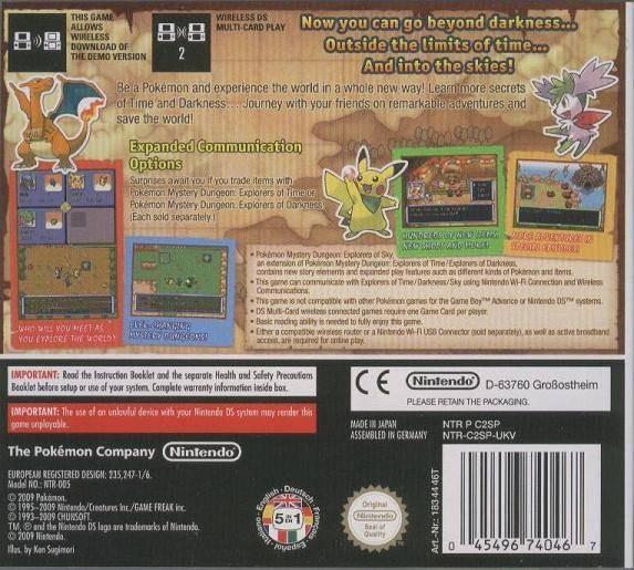 eu pokemon mystery dungeon explorers of sky back cover