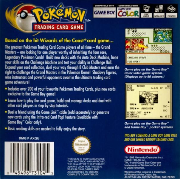 aunz pokemon trading card game game boy color back cover