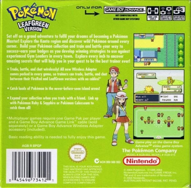 aus pokemon leafgreen version game boy advance back cover