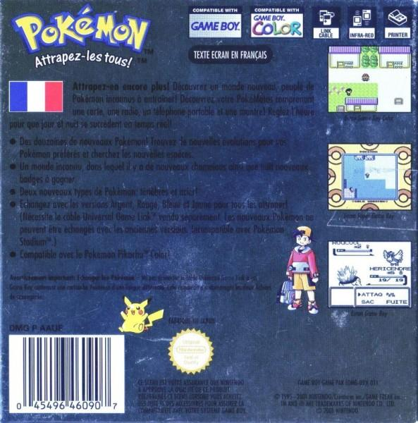 fr pokemon gold version game boy color back cover