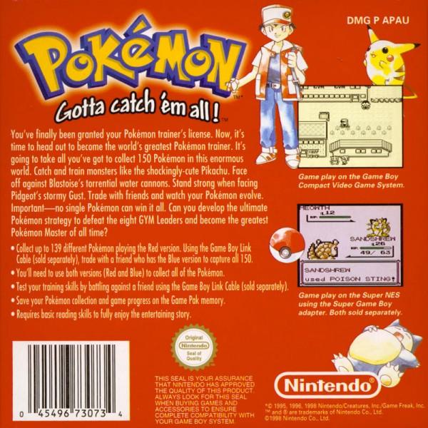 aunz pokemon red version game boy back cover