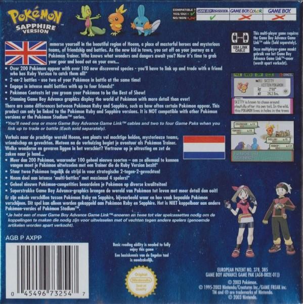 eu pokemon sapphire version game boy advance back cover