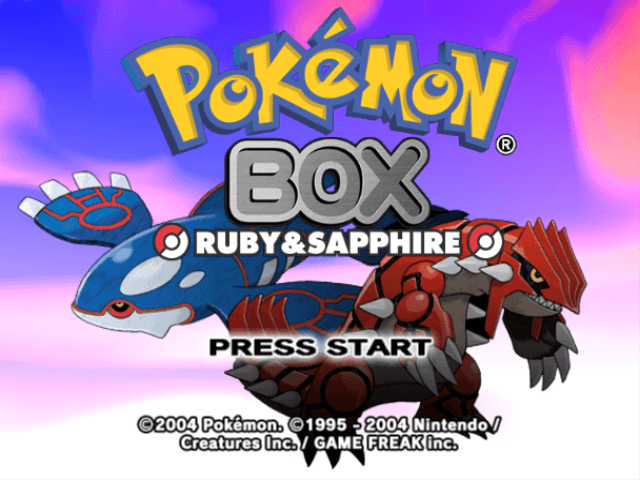 Pokemon Box Ruby and Sapphire title screen