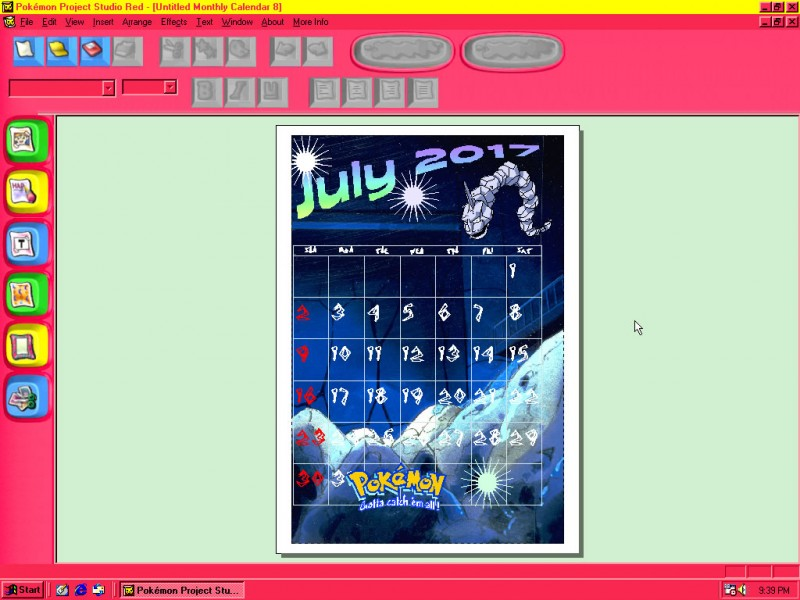 An example of a templated monthly calendar design featuring Onix