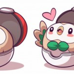 Rowlet in it's Pokéball