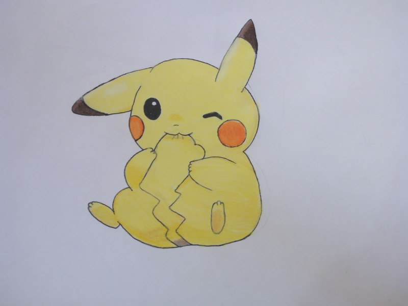 A drawing of Pikachu chewing his tail