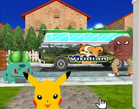 Pikachu, Hitmonlee and Bulbasaur at the Bus Station