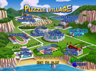 A map of Puzzle Village which acts as a menu