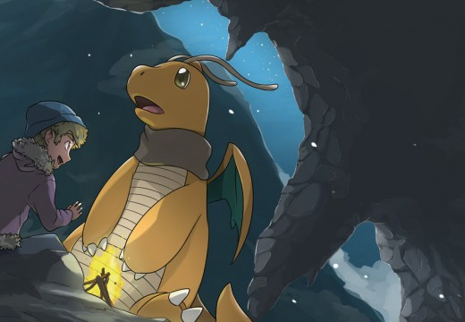 A trainer and his Dragonite camping in the mountains.