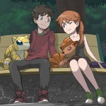 Pokémon Trainer couple on a bench.