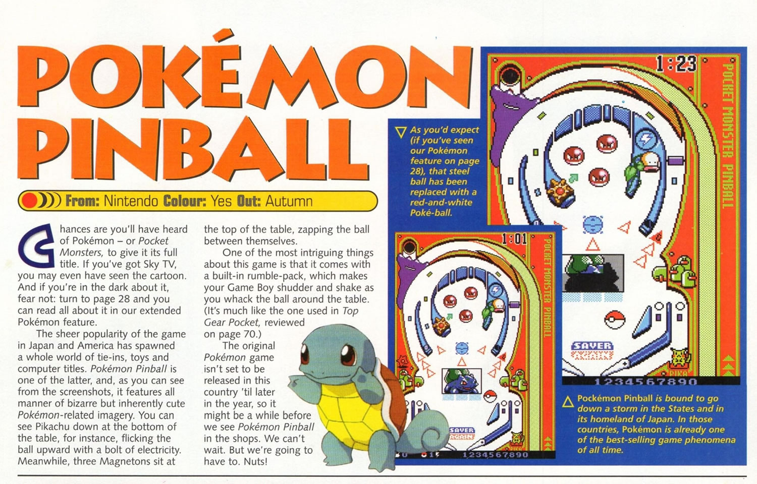 Planet GB UK Issue 1 Summer 1999 Pokemon Pinball Preview