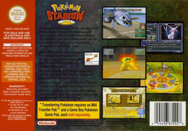 aus pokemon stadium 2 nintendo 64 back cover
