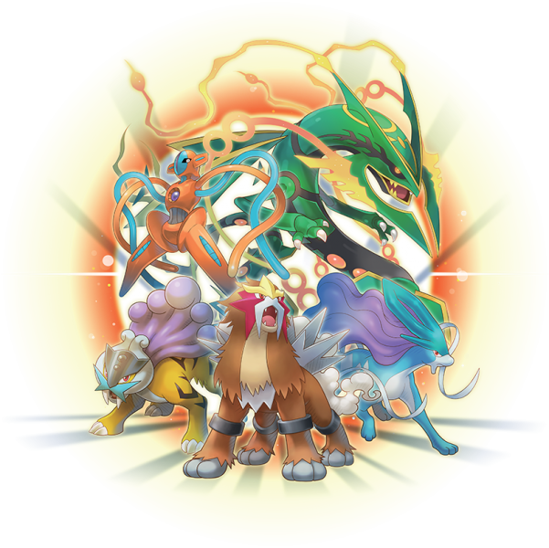 An artwork featuring some of the Legendary Pokemon in Pokemon Super Mystery Dungeon